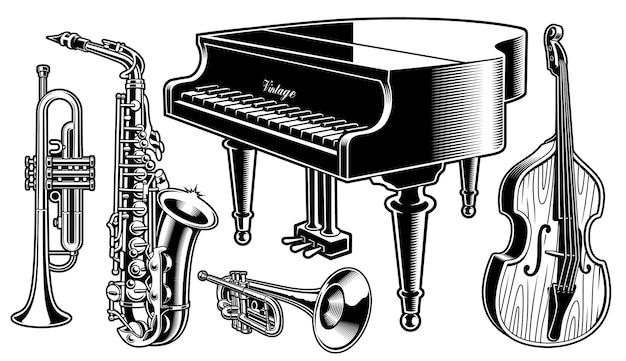 Schwarz-weiß-musikinstrumente Premium Vektoren