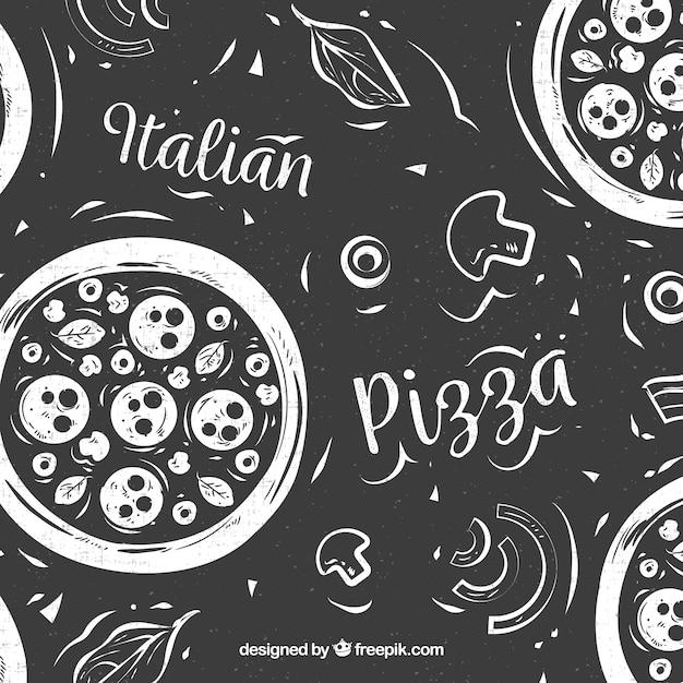 Schwarz Weiß Pizza Download Der Kostenlosen Vektor
