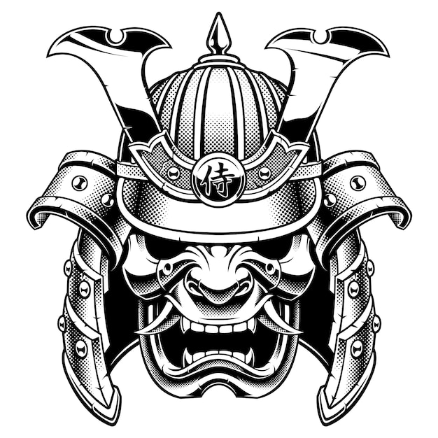 Schwarz-weiß-samurai-kriegermaske Premium Vektoren