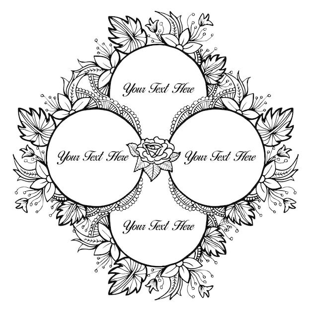 Schwarz-Weiß Schöne Hand gezeichneten Blumen-Rahmen | Download der ...