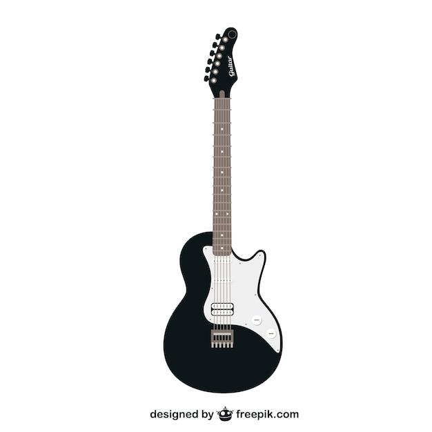 Schwarz-weiß-vektor-gitarre Kostenlosen Vektoren