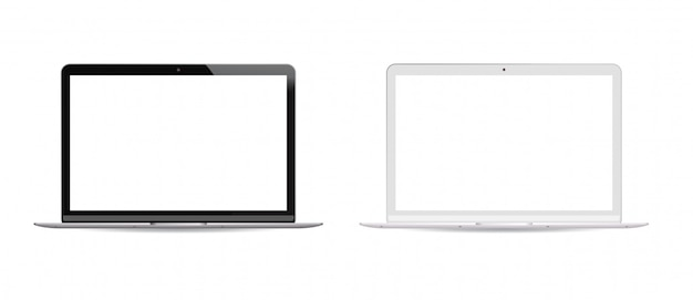 Schwarz-weiß-version laptop-pc weiß eingestellt Premium Vektoren