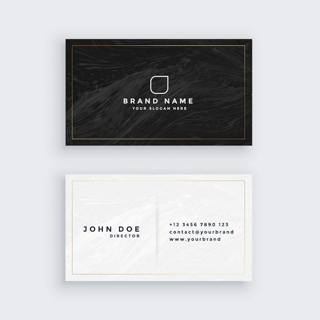 Schwarz-weiß-visitenkarte mit marmor textur Kostenlosen Vektoren