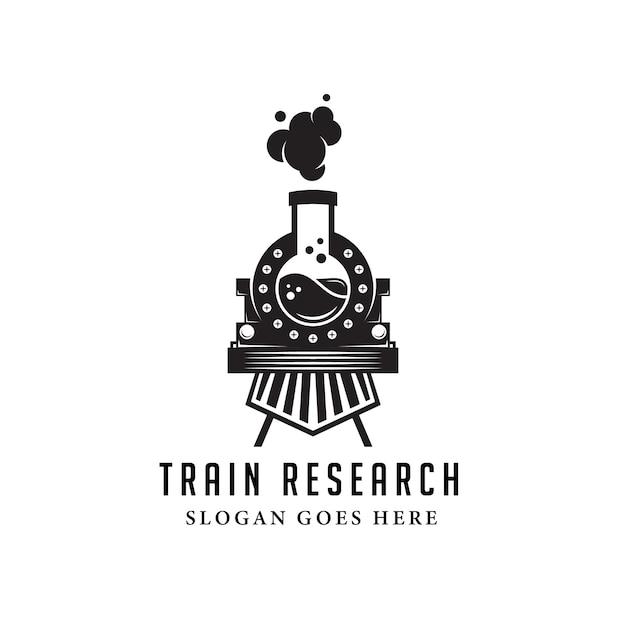 Schwarze alte zuglabor-logo-vorlage. retro- und vintager stil Premium Vektoren