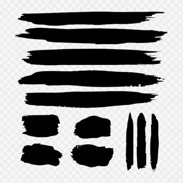 Schwarze aquarell pinselstrich sammlung Kostenlosen Vektoren