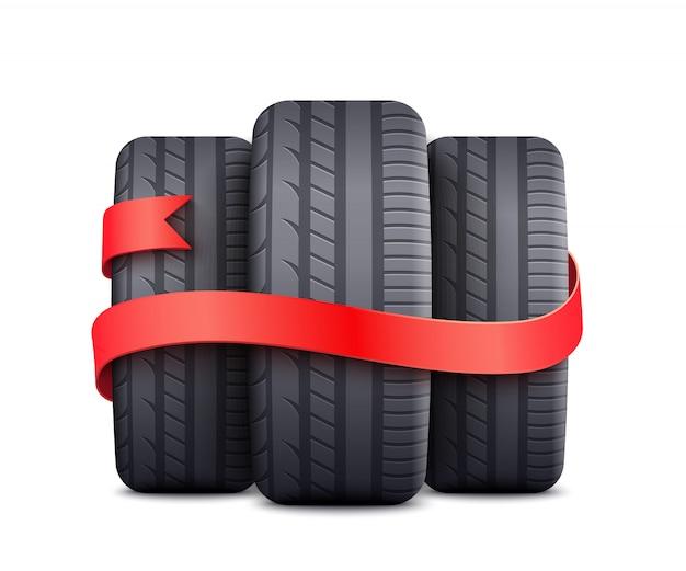Schwarze autoreifen eingewickelt mit rotem band - freies geschenk oder rabattförderungselement Premium Vektoren