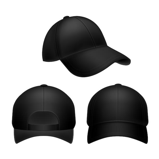 Schwarze baseballkappe. leerer hut, kopfbedeckungskappen in der vorder-, vorder- und seitenansicht. Premium Vektoren