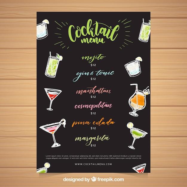 Klassische Cocktailkarte Vorlage Kostenlose Vektor 1
