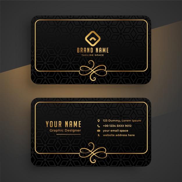 Schwarze dunkle und goldene visitenkarteschablone Kostenlosen Vektoren