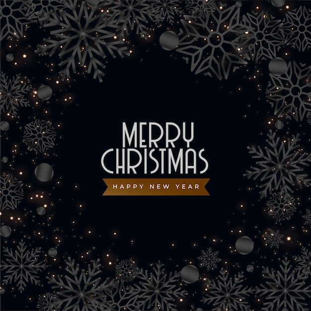 Schwarze dunkle weihnachtsgrußkarte mit schneeflockendekoration Kostenlosen Vektoren