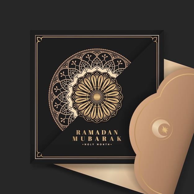 Schwarze eid mubarak postkarte Kostenlosen Vektoren