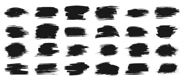 Schwarze farbe streicht pinsel, tintenfleckfahne, kastenrahmen für text, aquarellschmutz-hintergrundsatz. Premium Vektoren