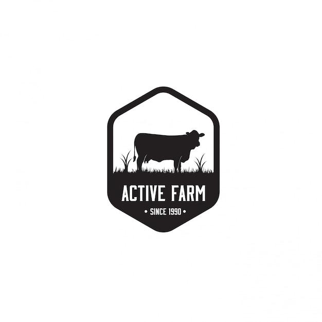 Schwarze farm logo vorlage Premium Vektoren