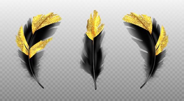 Schwarze federn mit goldglitter auf transparent Kostenlosen Vektoren