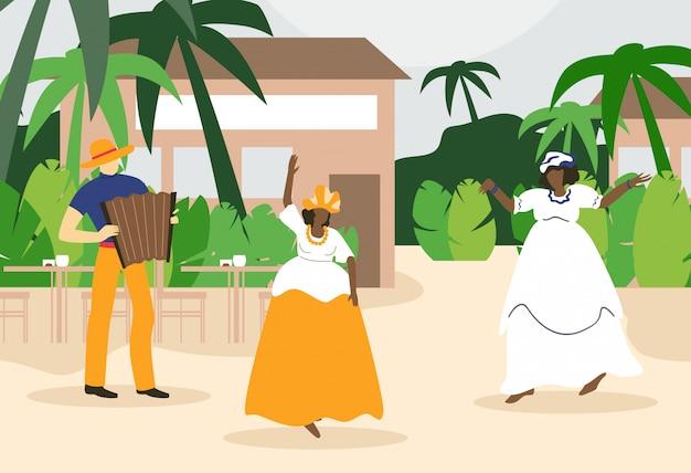 Schwarze fette frauen, die nahe café unter palme tanzen. Premium Vektoren