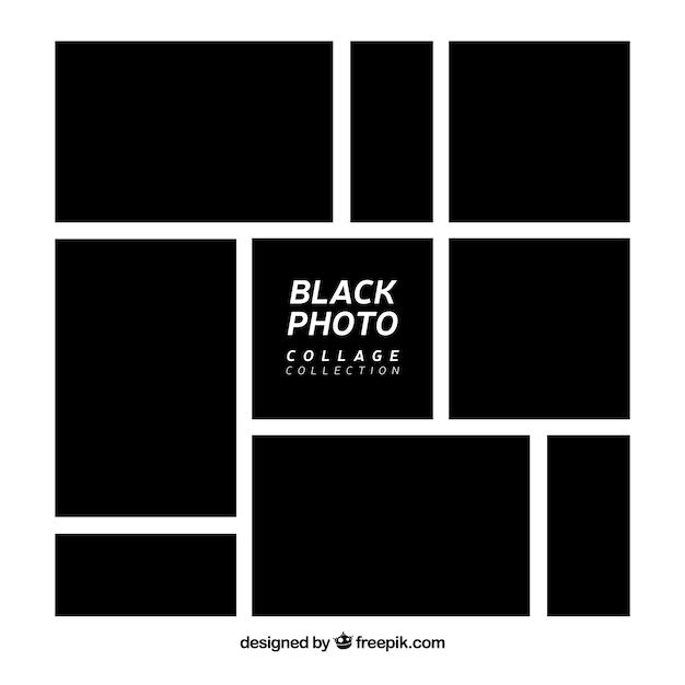 Schwarze fotorahmen-collagensammlung Kostenlosen Vektoren