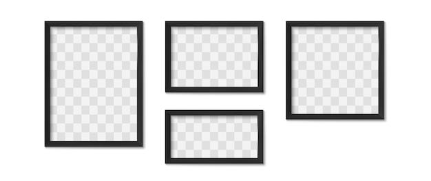 Schwarze fotorahmen. Premium Vektoren