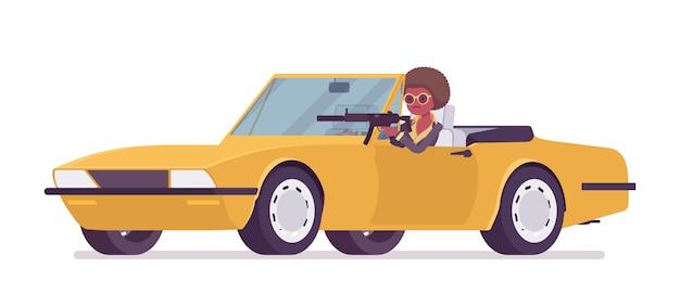 Schwarze frau des geheimagenten, spionin des geheimdienstes, deckt daten auf, sammelt politische und geschäftliche informationen, begeht unternehmensspionage und fährt auto. stil cartoon illustration Premium Vektoren