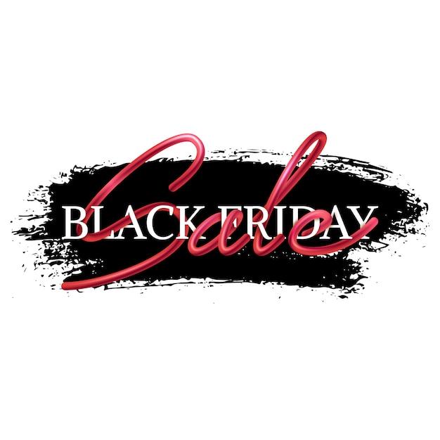 Schwarze freitag-verkaufsfahne, verschachteltes kalligraphisches textdesign, realistische mischung Premium Vektoren