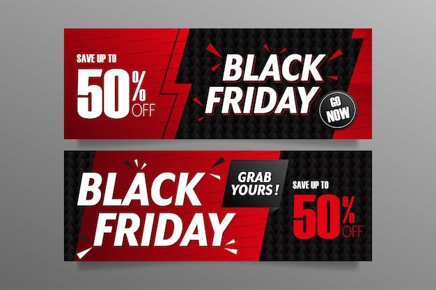 Schwarze freitagsbanner in den farben rot und schwarz Premium Vektoren