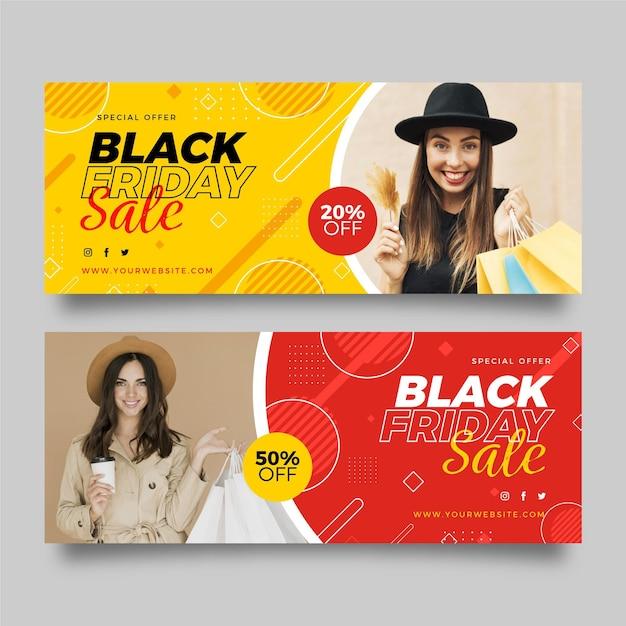 Schwarze freitagsfahnen mit foto im flachen design Kostenlosen Vektoren