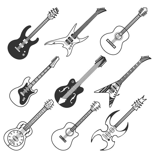 Schwarze gitarren-vektor-silhouetten Premium Vektoren