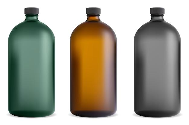 Schwarze glasflasche. medizinisches sirupglas. pharmazeutischer vitaminbehälter. braune chemische schablone mit durchscheinendem fläschchen mit schraubverschluss vintage design. kosmetisches shampoo, spa-saft Premium Vektoren