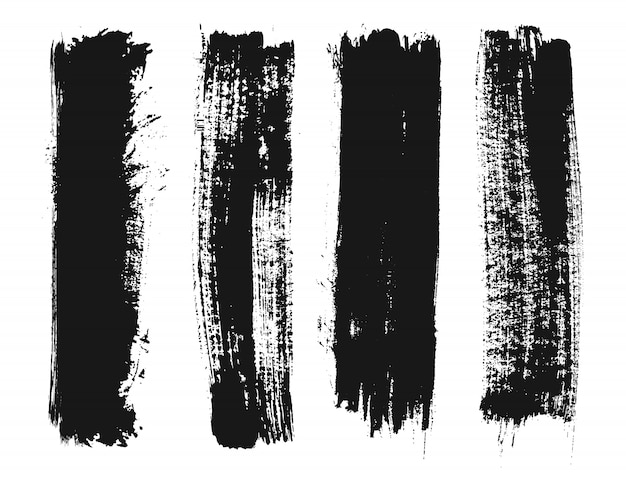 Schwarze grunge lackzeilen Premium Vektoren