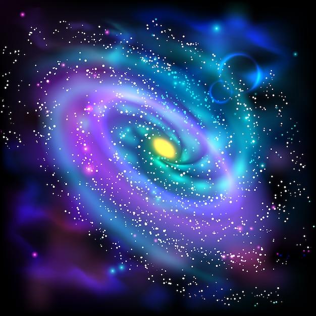 Schwarze hintergrundikone der gewundenen galaxie Kostenlosen Vektoren