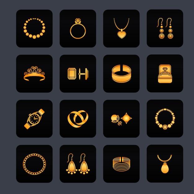 Schwarze ikonen des schmucks stellten von den kostbaren lokalisierten schätzen der diamantgoldmode ein Premium Vektoren