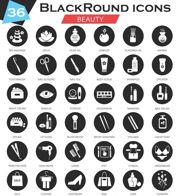 Schwarze ikonen des schönheitskosmetikkreises eingestellt Premium Vektoren