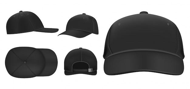 Schwarze kappe. sport baseball caps vorlage, sommerhut mit visier und uniformhüte verschiedene ansichten realistische 3d-set. kopfschmuck illustrationen pack. kappe vorder-, ober-, seiten-, rückansicht Premium Vektoren