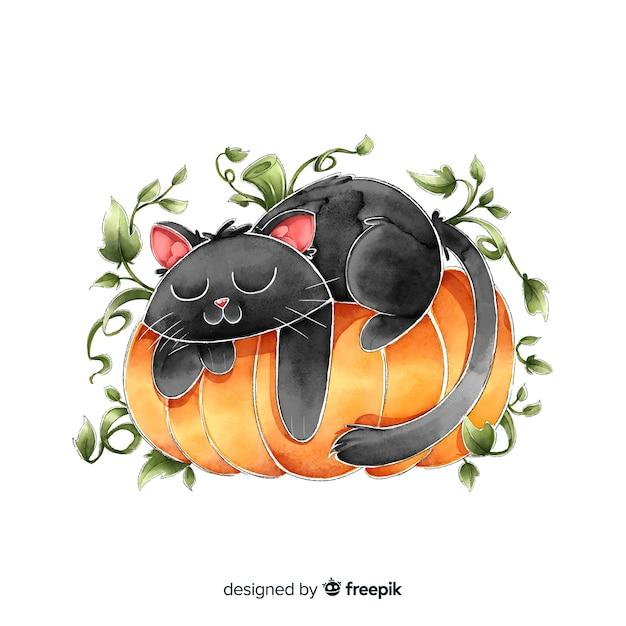 Schwarze katze aquarellhalloweens, die auf einem kürbis schläft Kostenlosen Vektoren