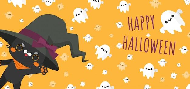 Schwarze katze, die den kostümierten und fliegenden geistgeist halloween-hexenhut um fahne trägt Premium Vektoren