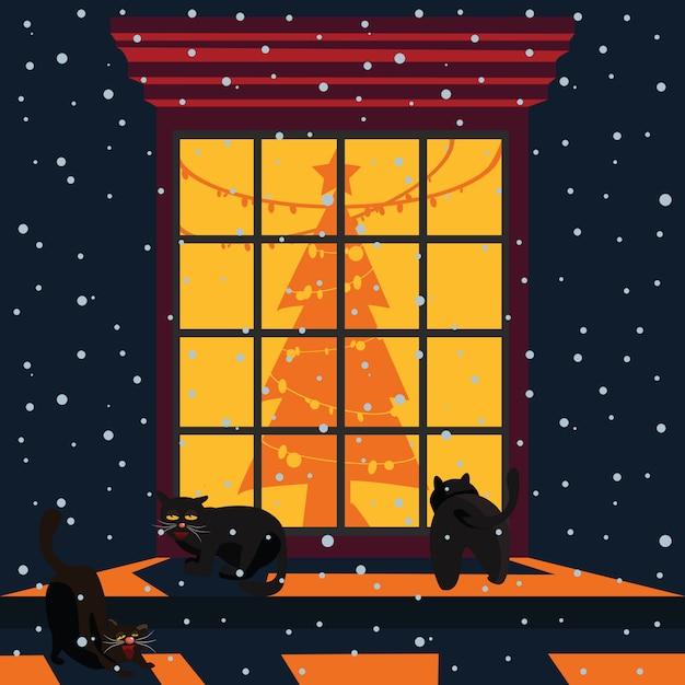 Schwarze katzen an der weihnachtsfenster-vektorillustration Premium Vektoren