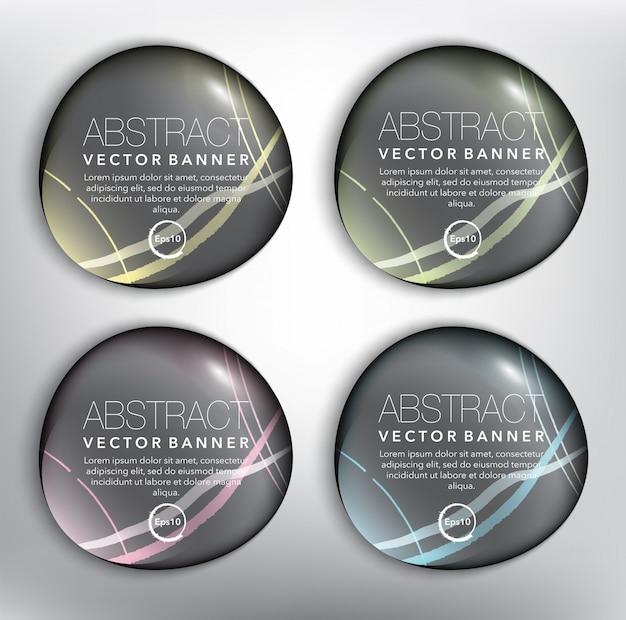 Schwarze kieselsteinbanner 4er-set. runde kieselsteine. isoliert auf der weißen oberfläche. Premium Vektoren