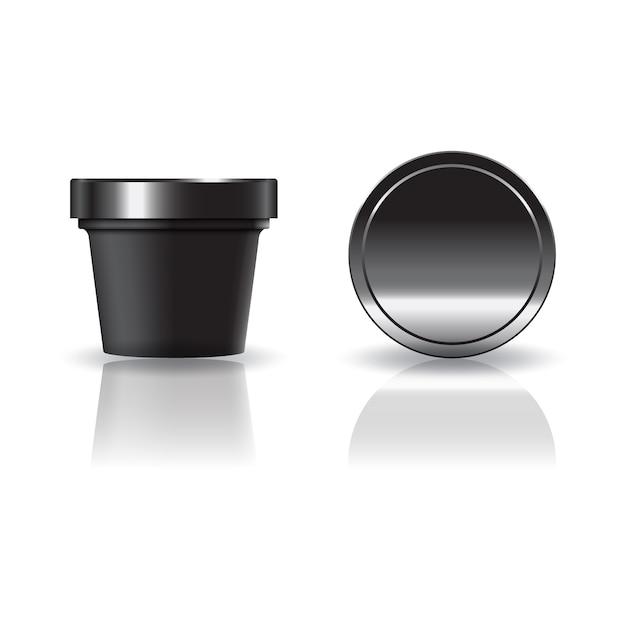 Schwarze kosmetik- oder nahrungsmittelrunde schale mit deckel. Premium Vektoren