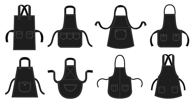 Schwarze küchenschürzen. kellner schürze, restaurant chef uniform mit naht patch tasche und küchenuniformen illustration set Premium Vektoren