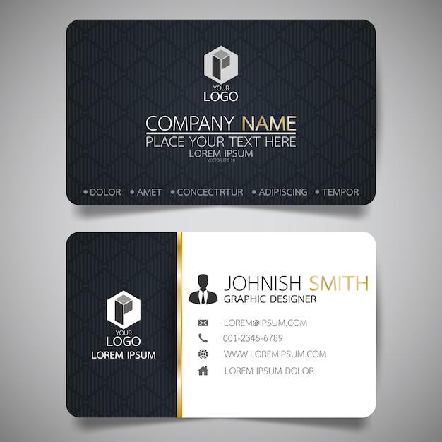 Schwarze Layout Visitenkarte Vorlage Premium Vektor