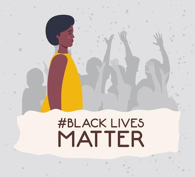 Schwarze leben sind wichtig, junge afrikanerin mit der silhouette protestierender menschen, stoppen das rassismuskonzept. Premium Vektoren