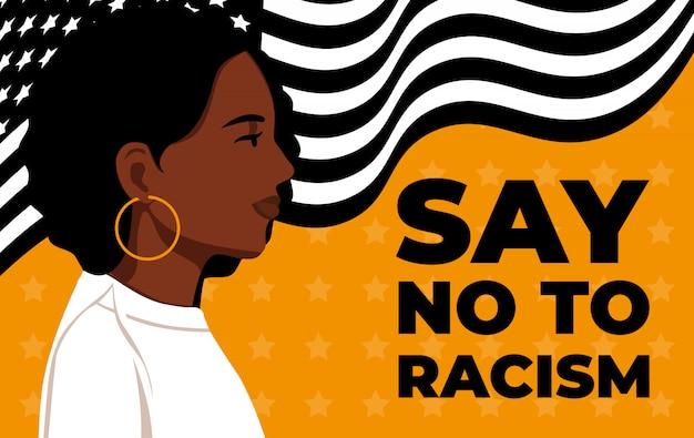 Schwarze leben zählen. aussage. junge afroamerikaner: mann. schwarze bürger kämpfen für gleichheit. Premium Vektoren