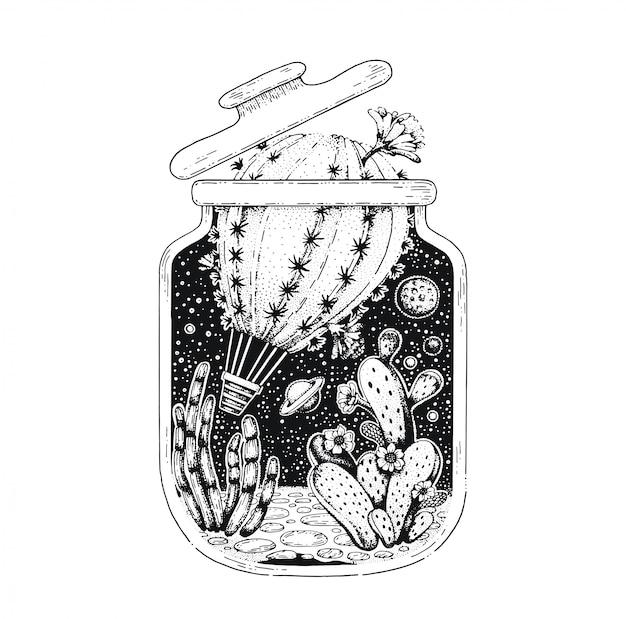 Schwarze linie kunst des kaktusluftballons. vintage-stil-skizze für t-shirt-druck oder tätowierung. Premium Vektoren