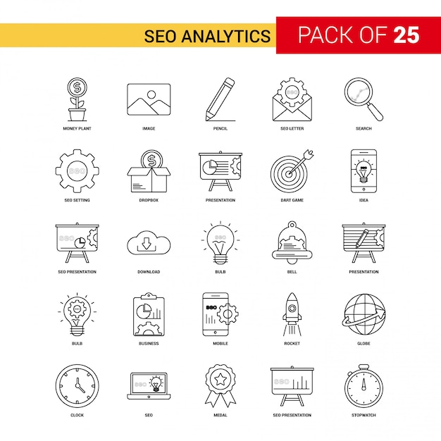 Schwarze linie symbol der seo analytics - 25 business outline icon set Kostenlosen Vektoren