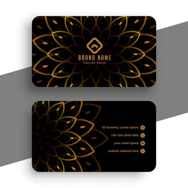 Schwarze luxus-visitenkarte mit goldener dekoration Kostenlosen Vektoren