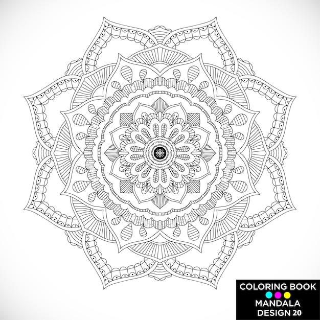 Schwarze Mandala zum Malbuch | Download der kostenlosen Vektor