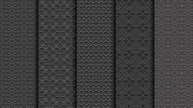 Schwarze nahtlose blumenmuster Premium Vektoren