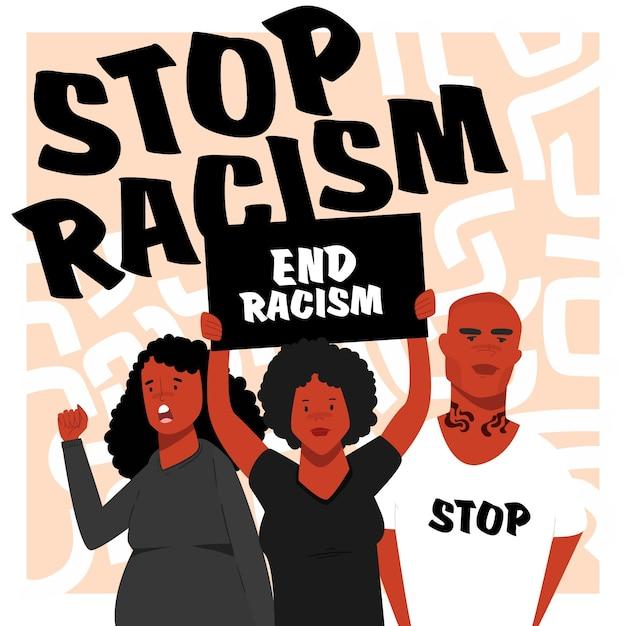 Schwarze protestieren gemeinsam gegen rassismus Kostenlosen Vektoren