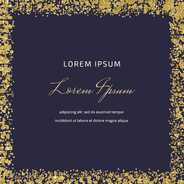 Schwarze quadratische karte mit goldener glitzer-konfetti-textur Premium Vektoren