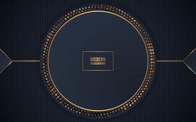Schwarze realistische dekorationskreisform mit goldfunkeln Premium Vektoren