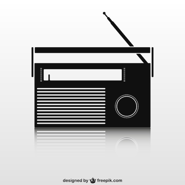 Schwarze retro-radio-set Kostenlosen Vektoren